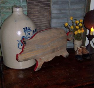 Prim Antique Vtg Style Wood Pig Cutting Board Red Paint