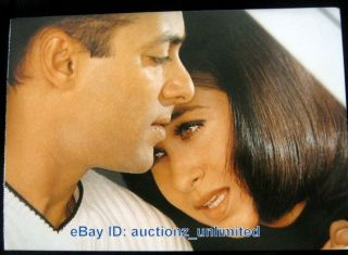 Bollywood Actor Salman Khan Karisma Kapoor India RARE Old Post Card