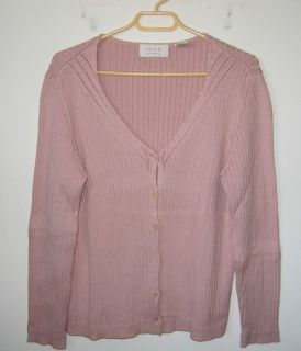 Womens Dana B Karen Mauve Cardigan Sweater Size L
