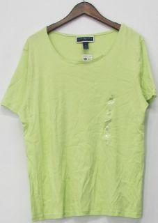 Karen Scott Sz 1X Short Sleeve Scoop Neck Cotton Top Bright Green