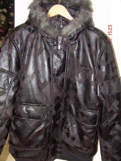 Karl Kani Mens Black Padded Suede Effect Hooded Jacket