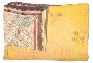 Karma Living NWT Kantha Hand Stitched Quilt Lilac 52x80 Vintage