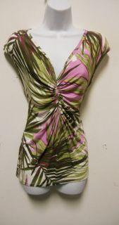 Karen Kane Colorful Tropical Print Sleeveless Top Sz L