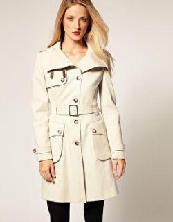 Karen Millen Black Posh Cotton Belted Signature Funnel Neck Coat 10 38