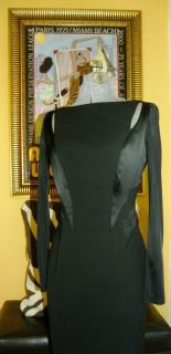 KAREN WALKER bodycon black evening dress w subtle sexy cutouts Mint