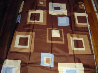 New Blue Brown Squares Modern Fabric Shower Curtain