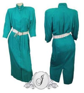 Vtg 80s Green Dress Katie Mfg Rayon Small 3 4 Pockets