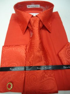 Mens Karl Knox Red Paisley Collar French Cuff Dress Shirt Tie Hanky