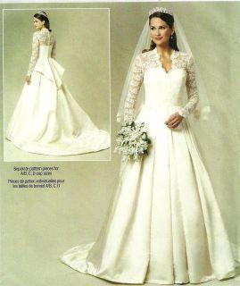 KATE MIDDLETON WILLIAM ROYAL WEDDING DRESS SEWING PATTERN 249 5731 SZ