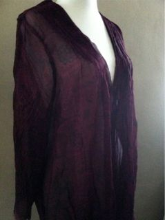 Winter Kate Lola Purple Vtg Silk Tunic Top Blouse Cardigan Amazing So