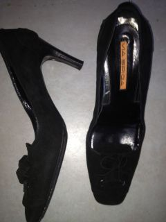 Via Spiga Black Suede 3 Heel Womens Made in Italy Shoe Size 6 M
