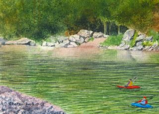the River Original Watercolor Landscape Painting boats water kayaking
