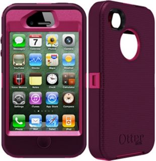 New Otterbox Defender Case Cover for iPhone 4 4S PLUM AND PINK & Belt