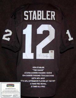 Ken Stabler Autographed/Signed Raiders Pro Style Stat Jersey  Mounted