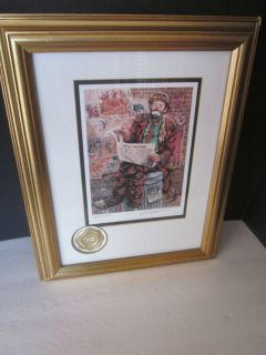 Leighton Jones Emmett Kelly Framed Signed Numbered Lithograph Wall