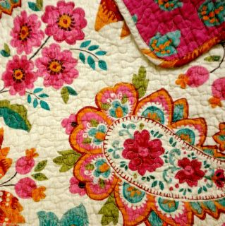 KENJI Carole Little VENETO FULL/QUEEN QUILT *NEW* PAISLEY FLORAL PINK