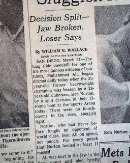 Ken Norton Wins Heavyweight Boxing Title Muhammad Ali 1973 NYC Times