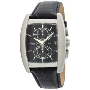 Kenneth Cole KC1655 Black Leather Chronograph Watch