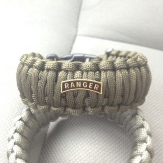 Paracord Survival Bracelet Veteran US Army Ranger Tab OD Green King