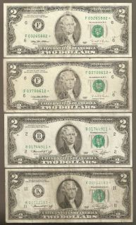 1976 1995 $2 FRN Federal Reserve Star Notes Atlanta New York
