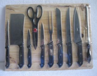 New Perfection 11 Piece German Style Knife Set with Wood Cutting Board