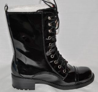 Kensie Girl Kamilian Black Patent Lace Up Mid Calf Boots Size 7 5M