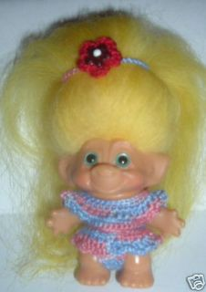 Handmade Crochet Clothes Fit 2½ Vintage Dam Troll Doll