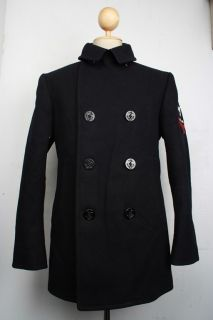 Superb Vtg US NAVY 1958 PEA COAT Kersey Wool Corduroy Pockets Double
