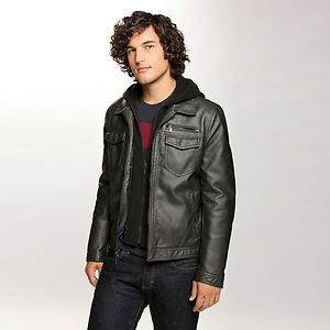 Kenneth Cole Mens Faux Leather Jacket