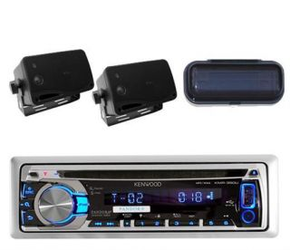 New Kenwood Marine CD Radio iPod iPhone Receiver 2 Black Box Speakers