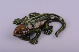 Faberge Iguana trinket box by Keren Kopal Swarovski Crystal Jewelry