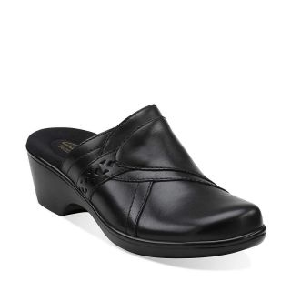 New in Box Clarks Womens April Bayberry Clogs Shoes Black Leather