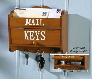 Wooden Wall Mount Organizer Key Mail Letter Holder Rack