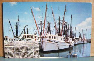 Key West 1970 postcard Shrimp Boats Rock Roll Captain Elbert lobster