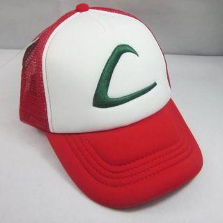 New Pokemon Ash Ketchum Costume Cosplay Mesh Cap Hat