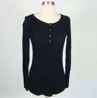 Khloe Kardashian Splendid Black Long Sleeve Thermal Henley Top Size M