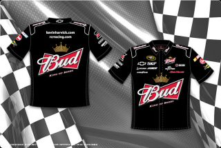 Kevin Harvick Bud Racing Pit Shirt Black Mens Adult