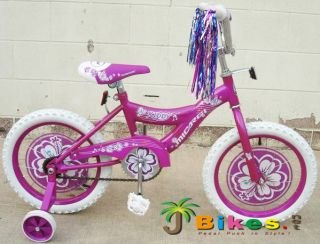 16 Kids BMX bikes, Purple Micargi Kiddy Girls with Training Wheels
