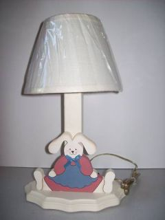 Painted Blue Pink Bunny Lamp Light Easter Kids Children Nursery