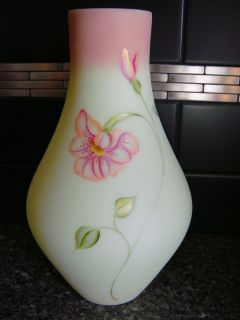 Glass Floral Breeze on Burmese Yellow Vase Hand Painted Signed Kibbe