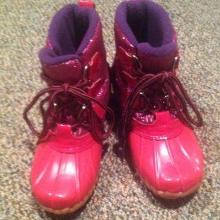 Khombu Girls Glitter Pink Purple Ankle Boots Size 2