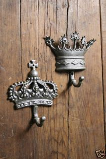 Set 2 Silver King Queen Crown Corona Wall Mounted Coat Towel Hooks
