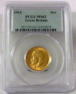 1915 Sovereign Great Britain King George V British Gold Coin PCGS MS63