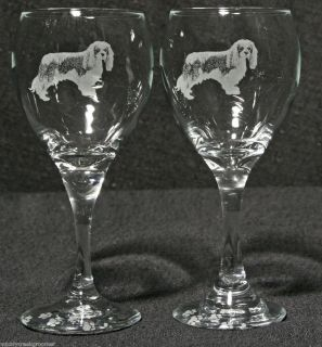 Cavalier King Charles Spaniel Dog Laser Etched Teardrop Wine Glass PR