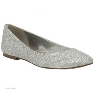 Lava Kim Gold or Silver Glitter Flats 3 4 Low Heel Womens Shoes Size