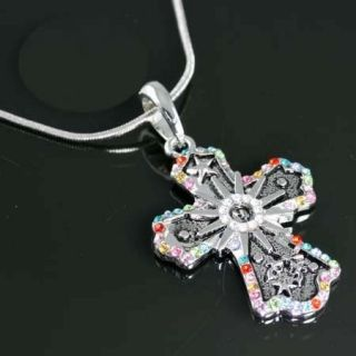 Western Crystal Spur Rowel Pistol Gun Cross Necklace