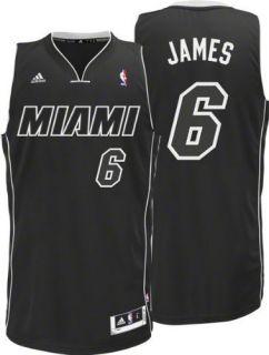 Adidas Lebron King James 6 Miami Heat NBA Black White Away Swingman