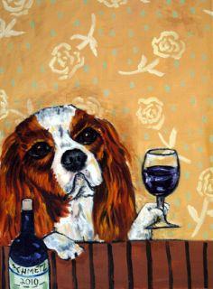 Cavalier King Charles Spaniel Wine Dog Art Note Cards