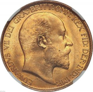 Great Britain King Edward VII 1903 Half Penny NGC MS65RD