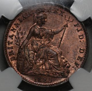 1825 NGC MS 64 RB Farthing King George IV Old US Money Great Britain